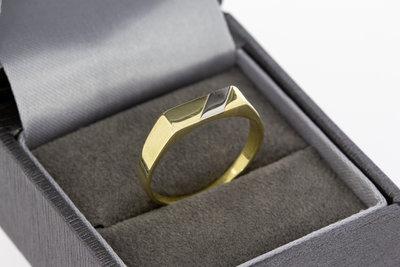 14 karaat gouden Statement ring met bicolor Zegelbed- 18,2