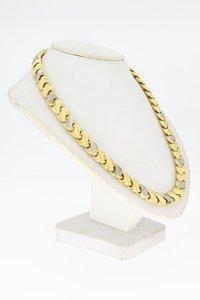 14 karaat bicolor gouden schakel Collier- 42 cm