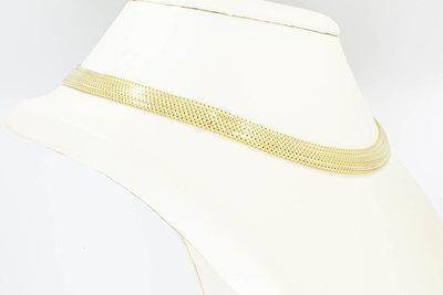 14 karaat gouden gevlochten Band schakel Collier - 44 cm