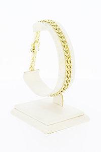 14 Karaat gouden gevlochten Tank Staafjes armband - 20,4 cm