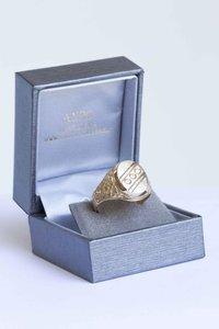 14 Karaat gefigureerde gouden bicolor Statement ring- 20 mm