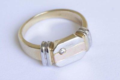 14 Karaat gouden zegelring met briljant geslepen Zirkonia
