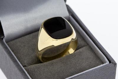 14 karaat geel gouden Zegelring gezet met Onyx - 20,3 mm