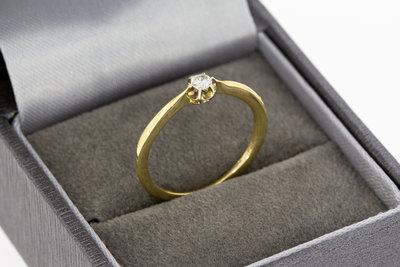 14 Karaat 14 Karaat gouden Solitair ring met briljant geslepen Diamantgouden Solitair ring gezet met briljant geslepen Diamant