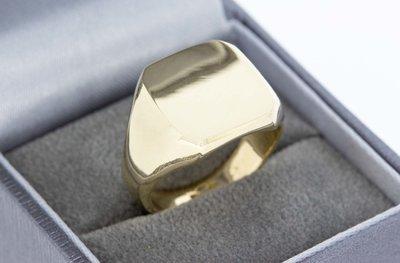 14 Karaat gouden Zegelring met gepolijst Zegelbed - 19 mm