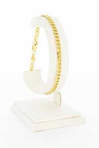 14 Karaat gouden gewalste en geslepen Gourmet armband-21 cm