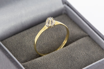 14 Karaat bicolor gouden Solitair ring met Diamant-0.05 crt