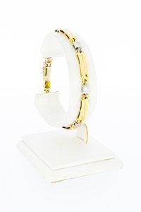 18 karaat bicolor gouden schakelarmband met Diamant - 19 cm