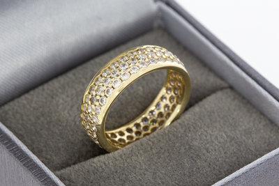 14 karaat gouden Bandring gezet met Zirkonia - 16,7 mm