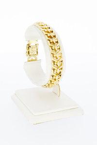 14 karaat gouden brede gefigureerde schakelarmband-18,3 cm