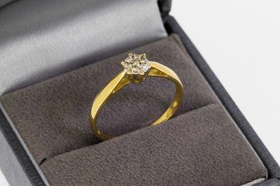 18 Karaat geelgouden Rozet Ring gezet met Diamant