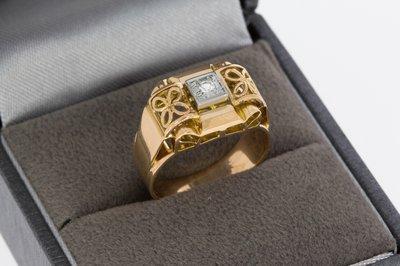 18 Karaat Rose gouden Bandring gezet met Diamant