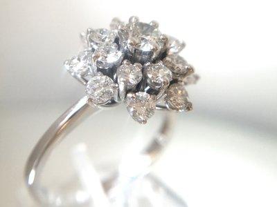 18 Karaat witgouden Rozet Ring (2.0 crt) Diamant - 17,3 mm