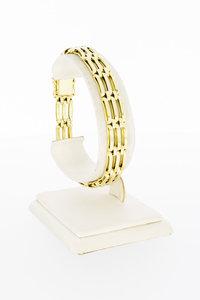 14 karaat gouden horizontaal gestaafde armband - 19,8 cm