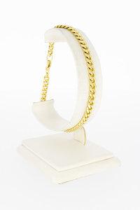 14 karaat gouden gewalste Gourmet schakelarmband- 21,2 cm
