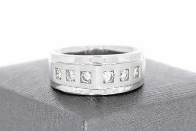 14 Karaat witgouden bandring gezet met Diamant (0.6 crt)