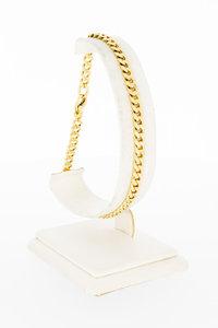 14 karaat gouden gewalste & geslepen Gourmet armband-22,5 cm