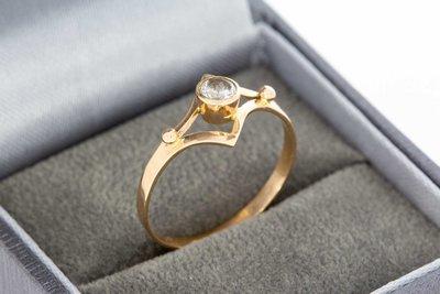 14 Karaat rose gouden ring gezet met Zirkonia - 18,3 mm