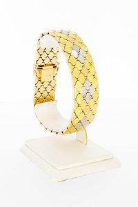 18 karaat tricolor gouden Plaatjes schakelarmband - 21 cm
