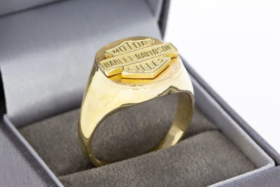 "14 Karaat gouden Statement ring ""Harley Davidson cycles"""