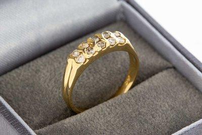 14 Karaat gouden Bandring met dubbele rij Diamant - 17,2