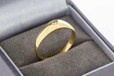 14 Karaat geelgouden Engelse Solitair ring met Diamant