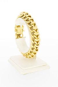 18 Karaat geel gouden gevlochten schakelarmband- 20 cm