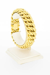 18 Karaat gouden dubbele Gourmet schakelarmband- 20,5 cm