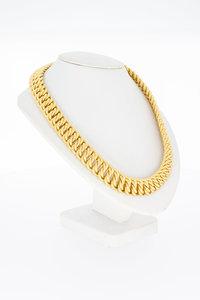 18 Karaat geel gouden gevlochten schakel Collier - 46 cm