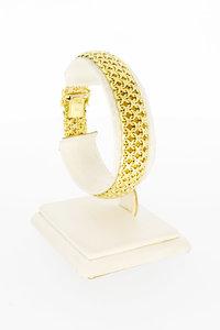 14 Karaat geel gouden gevlochten schakelarmband-19 cm