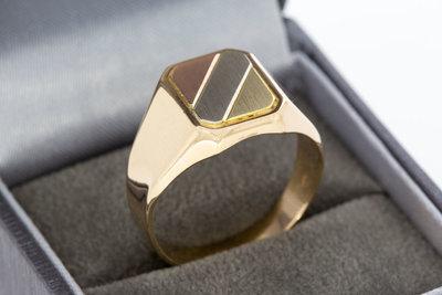 14 Karaat gouden Zegelring met tri color Zegelbed - 20,3