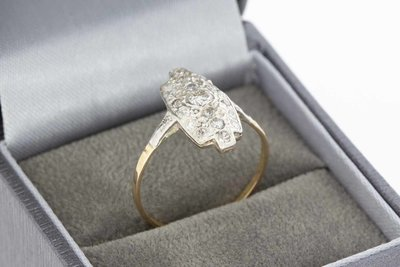 14 Karaat bicolor gouden ring gezet met Diamant (0.34 crt)