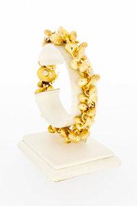 18 Karaat gouden schakelarmband met gouden Pampels-21 cm