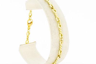 14 Karaat geel gouden Fantasie schakelarmband - 20,5 cm