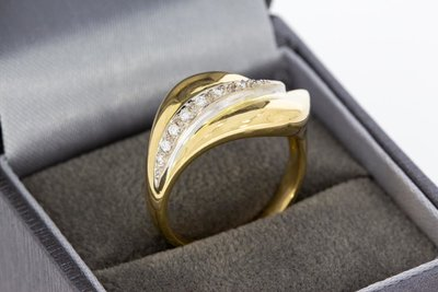 18 Karaat bicolor gouden Ring gezet met Diamant - 18 mm
