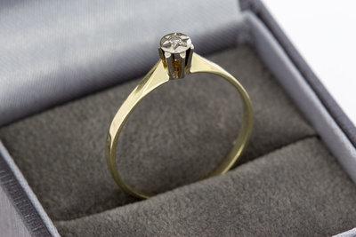 14 Karaat bicolor gouden Solitair ring met Diamant- 0.02 crt