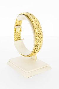 14 Karaat geel gevlochten schakelarmband - 21 cm