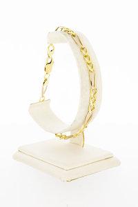 14 Karaat geel gouden Figaro schakelarmband - 22 cm