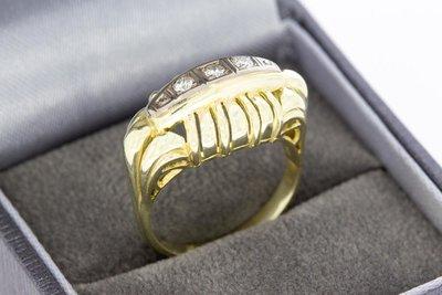 14 Karaat gouden Statement ring met Diamant - 0.15 crt