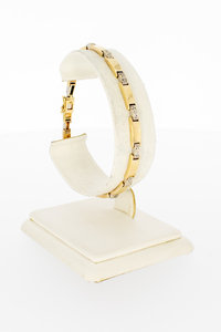 14 Karaat gouden Plaatjes armband met Diamant-19 cm