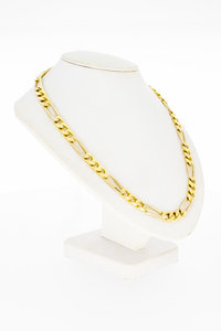 14 Karaat geel gouden Figaro schakelketting - 63 cm