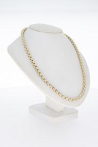 14 Karaat bicolor gouden Staafjes schakel Collier- 46,2 cm