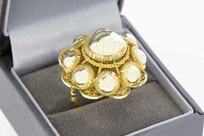 18 Karaat vintage geel gouden Zeeuwse knop ring- 19,3 mm