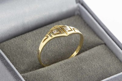 14 Karaat geel gouden Fantasie ring gezet met Zirkonia's