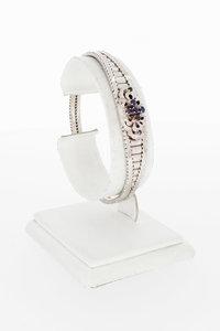 18 Karaat witgouden Armband gezet met Saffier - 18,6 cm