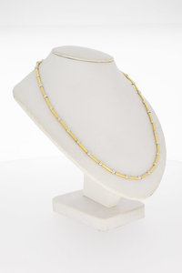 14 Karaat bicolor gouden Bolletje Staafjes Collier - 45,3 cm