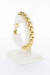 18 Karaat bicolor gouden Baraka schakelarmband - 20 cm