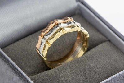 14 Karaat tricolor gouden Fantasie Ribben ring