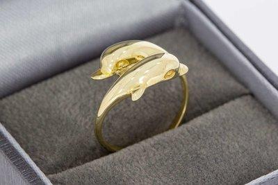 14 Karaat geel gouden Slagring gezet met Dolfijnen