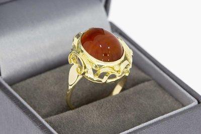 14 karaat gouden Retro ring met Carneool - 18,4 mm